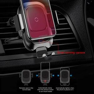 Image 2 - Baseus chargeur de voiture sans fil infrarouge pour iPhone XS XR Samsung S9 rapide QI chargeur sans fil évent montage voiture support de téléphone