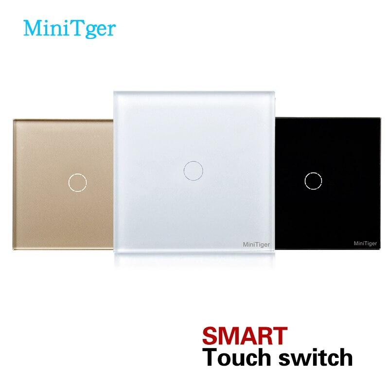 MiniTiger EU Standard Touch-schalter Wandschalter 1 Gang 1 Way Luxus Lichtschalter 170-240 V