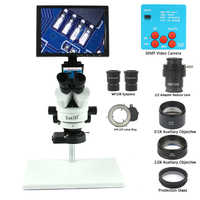 30MP 3.5-90X 10'' LCD Soldering Trinocular Stereo Microscope Stand Lens HDMI Digital Video Camera For Repair Cell Phone Tools