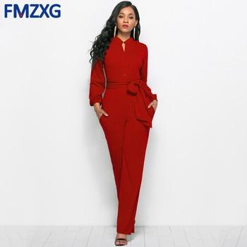 С поясом Дамы Лето длинным рукавом Комбинезоны для женщин для мода  комбинезон в официальном стиле элегантные пикантные широкие брюки комби. baad08e3f4188