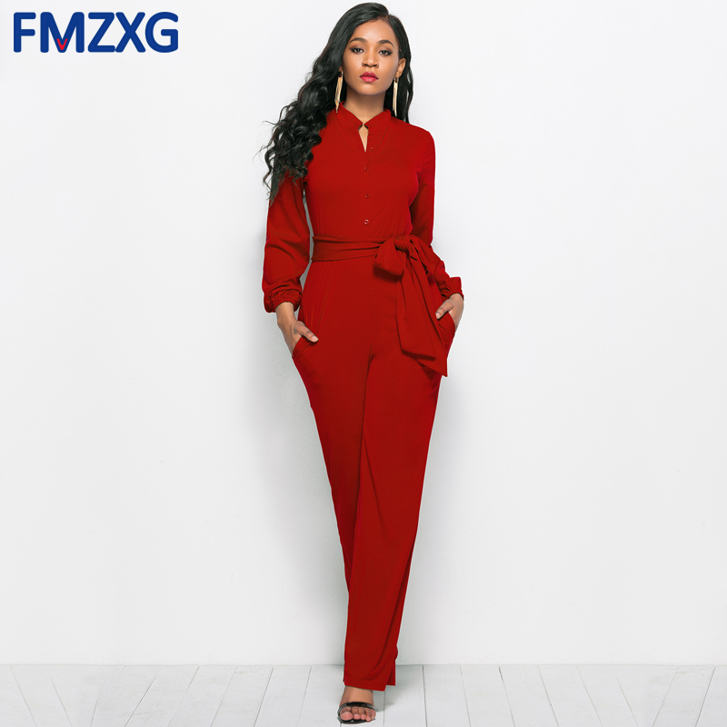 With Sashes Ladies Summer Long Sleeve Jumpsuits for Women Fashion Formal Jumpsuit Elegant Sexy Wide Leg Pants Jumpsuit Overalls