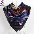 Inverno Preto Das Senhoras Lenços Muçulmanos Lenços Quadrados Impressos 90*90 cm Acessórios de Vestuário Primavera Outono Flores de Cetim Lenço De Seda