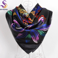 Winter Black Ladies Square Scarves Muslim Headscarves Printed 90*90cm Apparel Accessories Spring Autumn Flowers Satin Silk Scarf