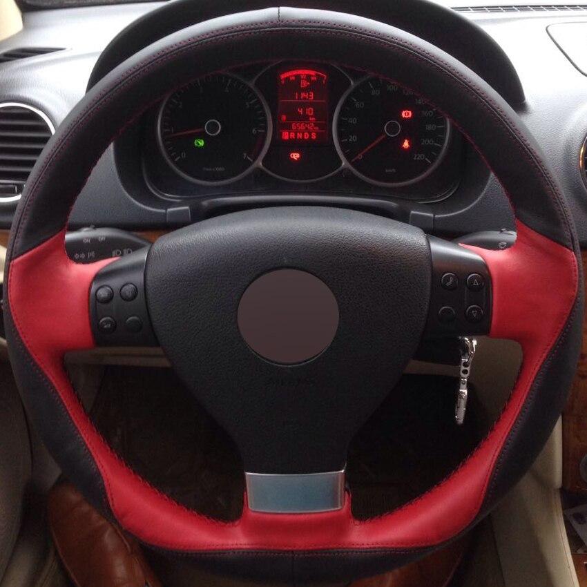 DG cousu Main Noir Rouge En Cuir Couverture De Volant de Voiture pour Volkswagen Golf 5 Mk5 VW Passat B6 Jetta 5 Mk5 Tiguan 2007-2011