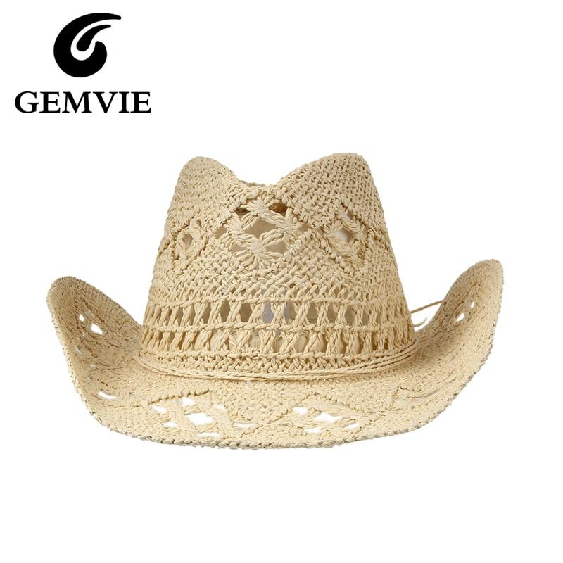 Nyári kalapok Cowboy sapkák nők alkalmi tömör szalma kalap Panama kalap férfi üreges strand nap kalap