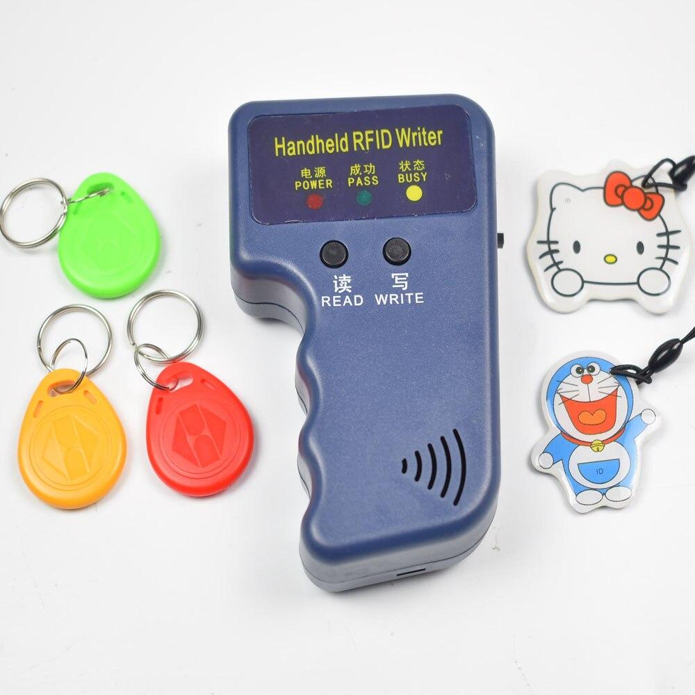 Handheld 125KHz EM4100 RFID Copier Writer Duplicator Programmer Reader + 5pcs T5577 EM4305 Rewritable ID Keyfobs Tags Card