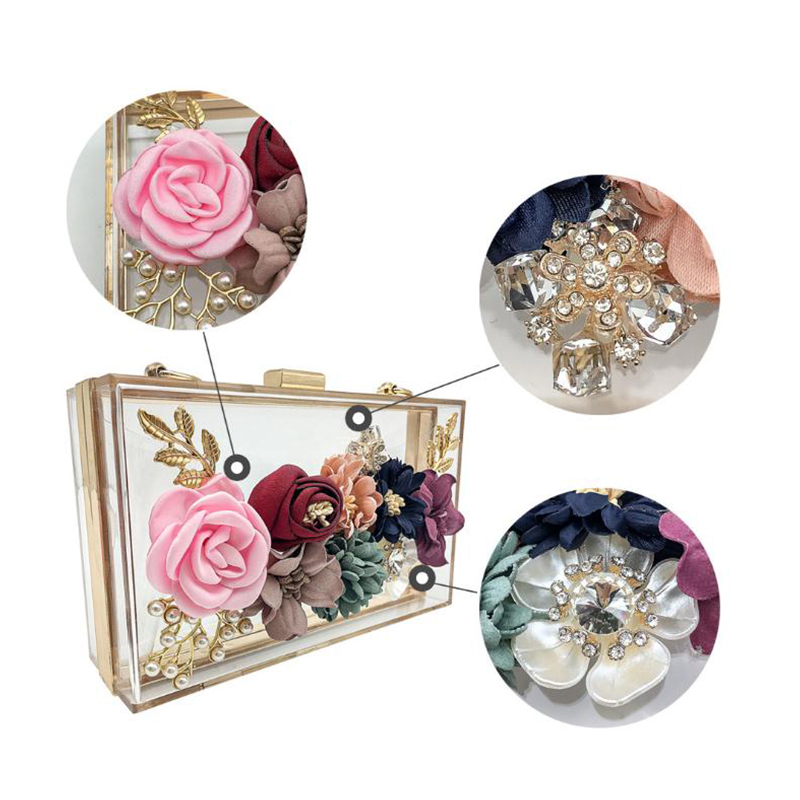Transparent Wedding Clutch Purse Flower Pearl Acrylic Clutch Bags for Women Shoulder Bag Beach Bag for Summer ZD1316 2