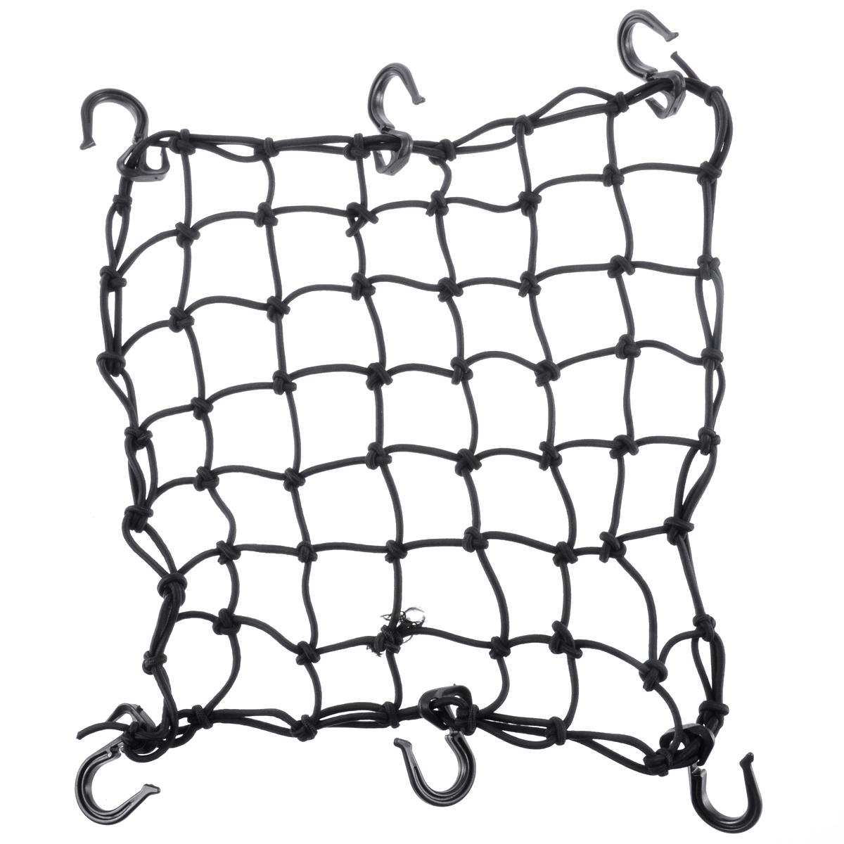 """1pc Black 42x42cm Latex Cargo Net Featuring 6 Adjustable Hooks & Tight 2""""x2"""" Mesh For Motorcycle Helmet Luggage Cargo Oil Tanker"""