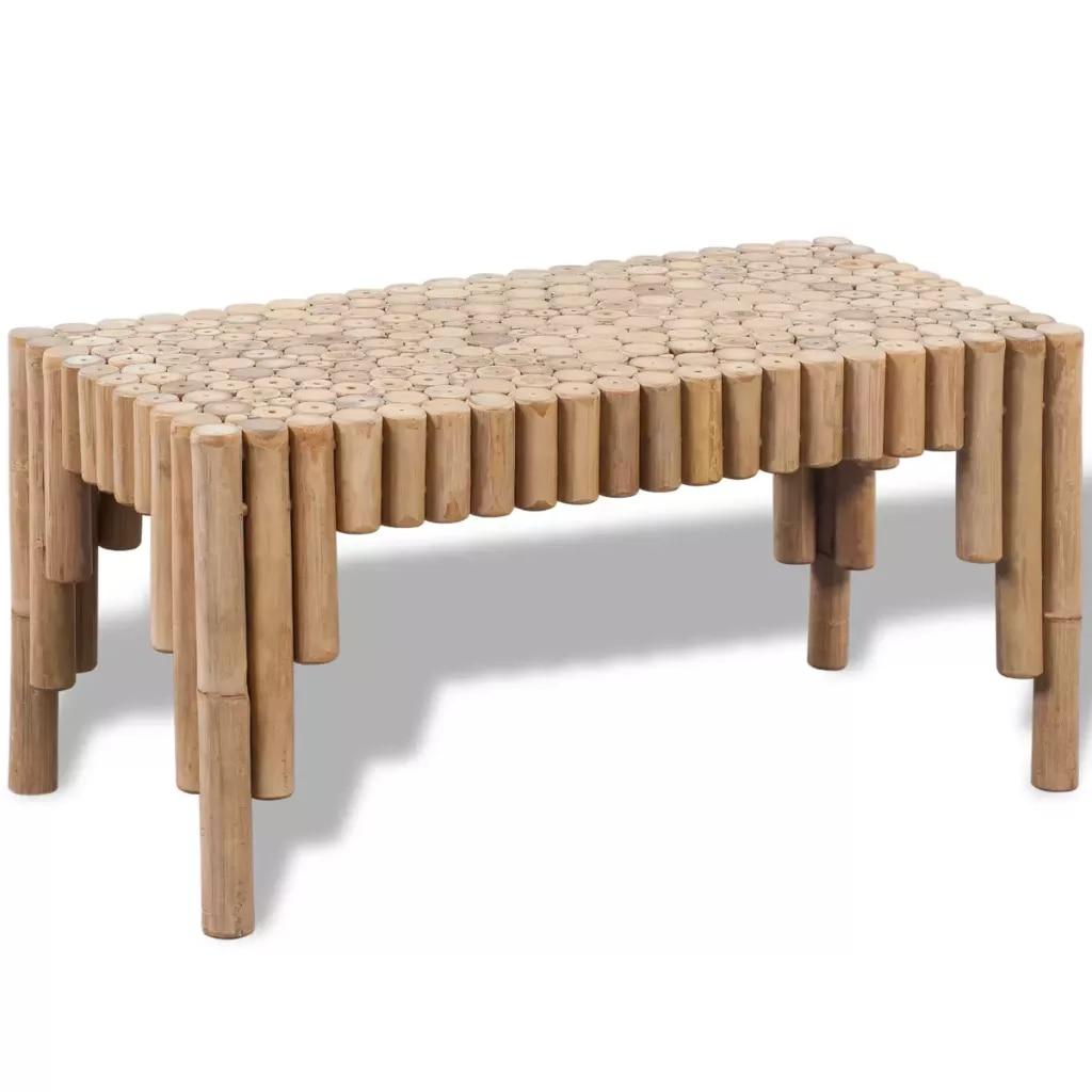 Mobilya'ten Kahve Sehpaları'de Bambu kahve masa küçük boyutlu basit ev dekor masa Retro katı ahşap bahçe için/oturma odası kapalı dış mekan mobilyası masa