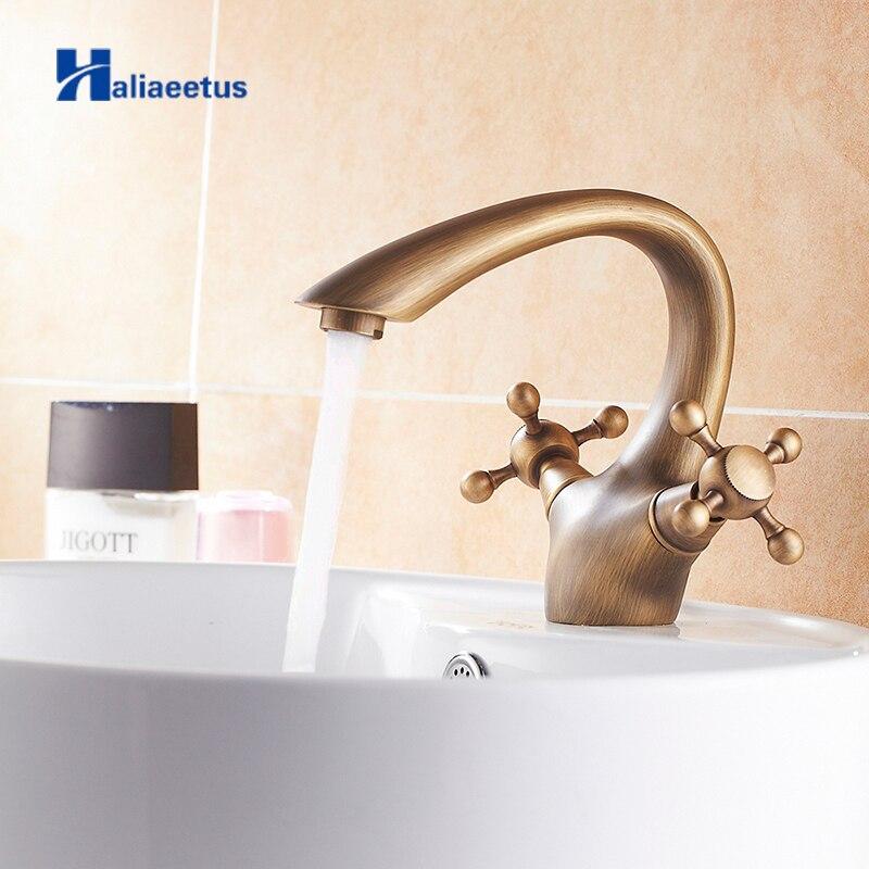Antique laiton salle de bains bassin robinet robinet d'eau de toilette robinet chaud et froid bassin évier mitigeur double poignée robinet de lavabo