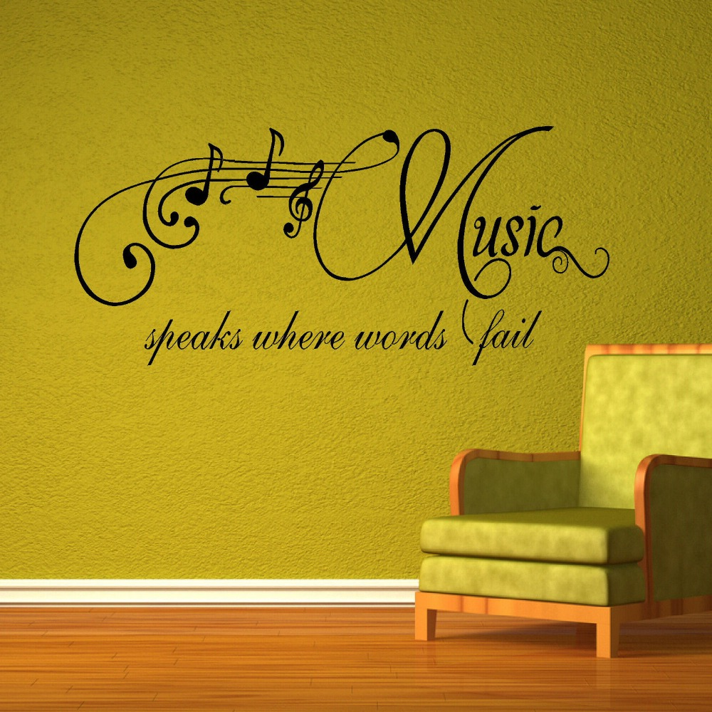 LARGE BEDROOM QUOTE MUSIC SPEAKS WORDS FAIL WALL ART STICKER ...