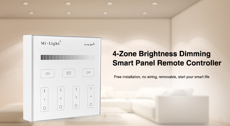 Mi Light B1 4-Zone Brightness Dimmer Smart Touch Panel Remote Controller Powerd By 3V (2*AAA Battery) Wall Mount 2.4G Wireless