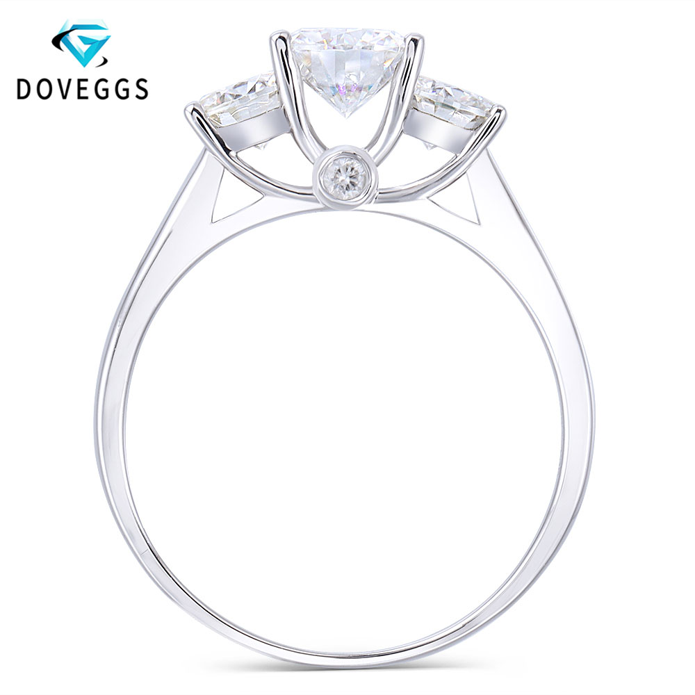 DovEggs Classic Simplicity Solid 14K White Gold Center 6.5mm F Color Lab Grown Moissanite Three Stone Party Ring for Women