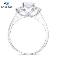 DovEggs anillo clásico de oro blanco de 14K para mujer, sortija de fiesta de tres piedras, moissanita cultivada en laboratorio, 6,5mm