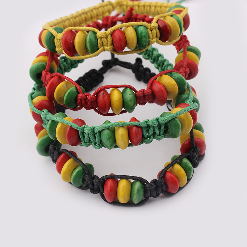 Set of 12 Wooden Bracelets with Jamaican Design Bangles & Bracelets