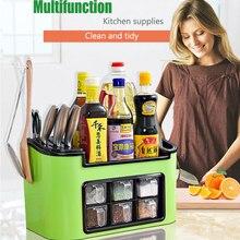 Кухонный шкаф для хранения, домашний двухслойный кухонный стеллаж для специй, 3 сетки, пластиковая бутылка для приправ, полка для хранения, кухонный стеллаж для хранения