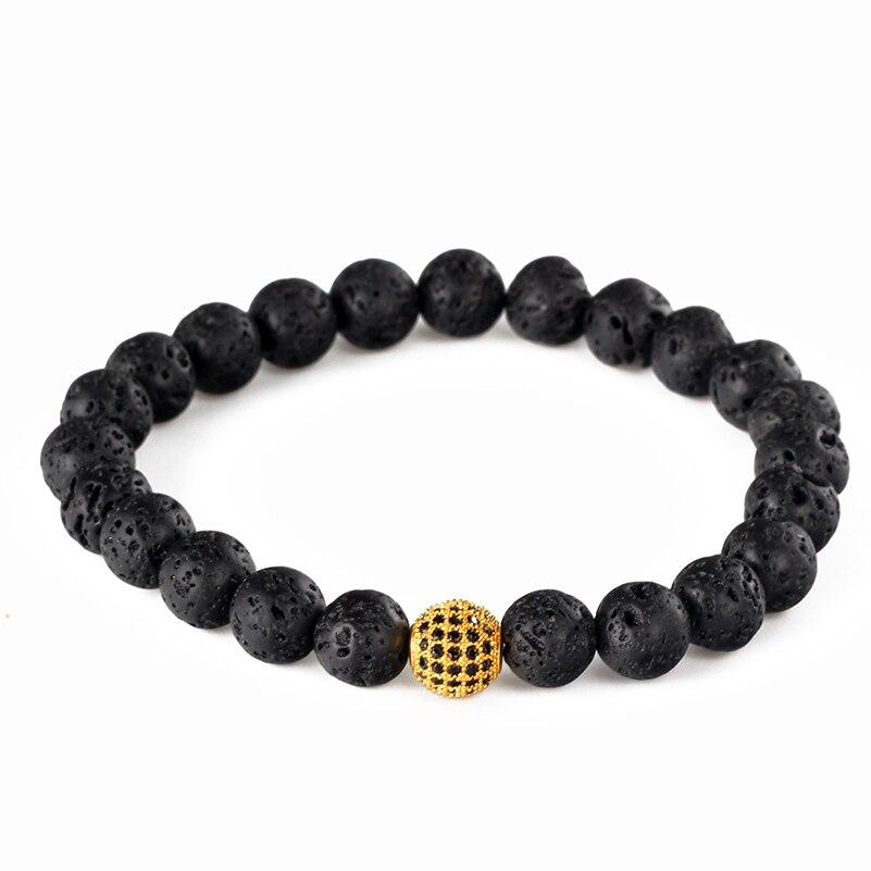 Minimalism Classic 8mm Natural Black Lava Volcanic Rocks Semi Precious Stone Bead With Pave CZ Ball Charms Bracelet Men Jewelry