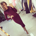 2016 New Cotton Long Sleeve Knee Length Midi Dress Slim Bodycon Bandage Autumn Black Wine Red Women Bandage Dresses Plus Size