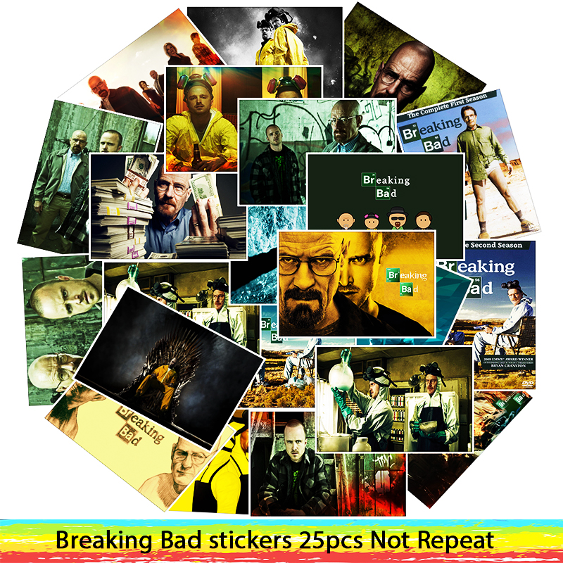 25Pcs/Lot  Waterproof Breaking Bad PVC Stickers For Laptop Motorcycle Skateboard Luggage Decal Toy Sticker25Pcs/Lot  Waterproof Breaking Bad PVC Stickers For Laptop Motorcycle Skateboard Luggage Decal Toy Sticker