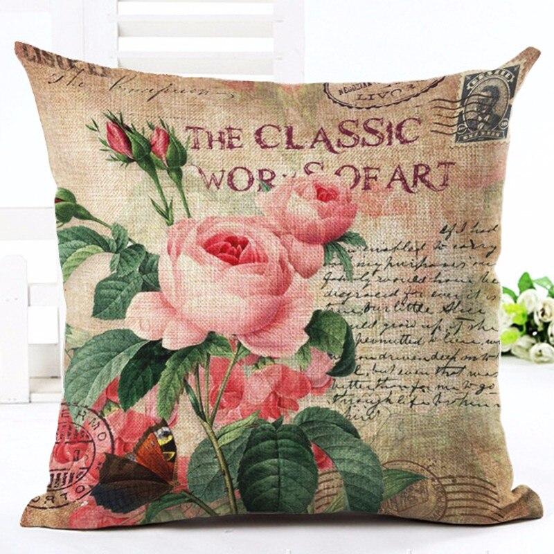 Vintage Style Home Decor Slikarstvo s cvetjem Tiskano blazino Decor - Domači tekstil