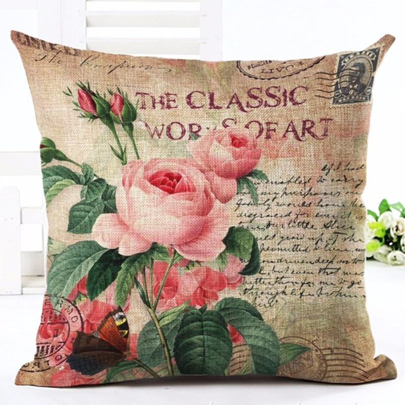 Vintage stijl Home Decor olieverf Bloem bedrukt Sofa kussen Decor - Thuis textiel
