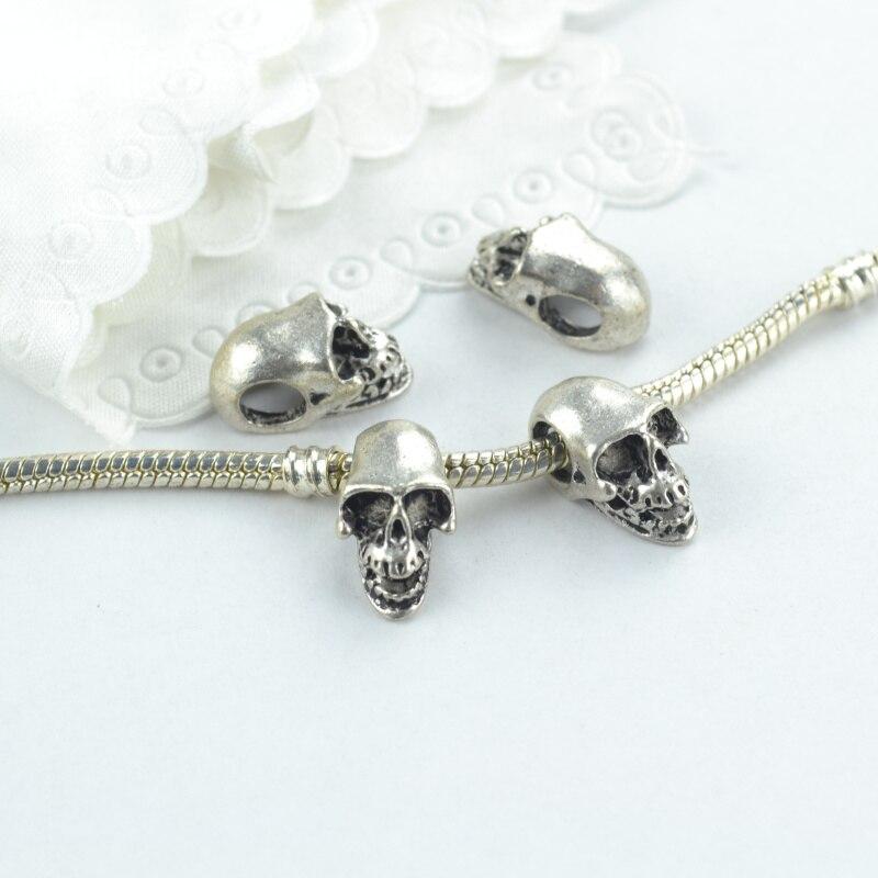 10 Stücke Silber Überzogene Schädel Charme-legierung Anhänger Für Armband Halskette Schmuck Machen Zubehör Diy 1881