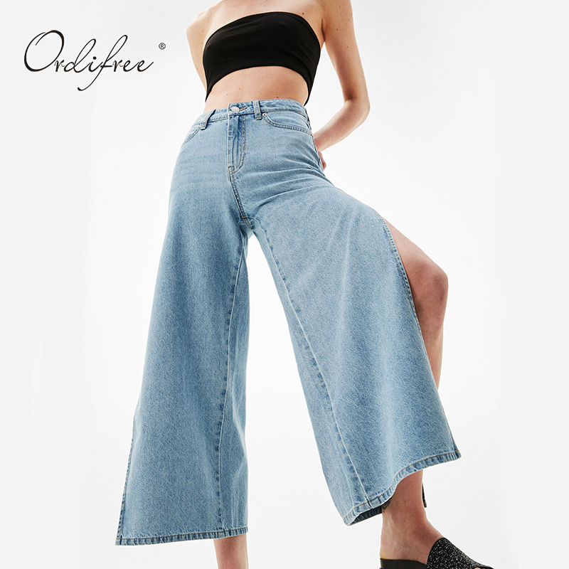 Ordifree 2017 New Women High Waist Jeans Boyfriend Jeans for Women Ladies Sexy Wide Leg Pants Light Blue Split Denim Pants полотенца банные spasilk полотенце 3 шт