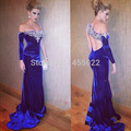 2015 New Fashion Mermaid One Shoulder Royal BLue Prom Dresses Velvet Beaded Luxury Crystal Dress Long Rhinestone Evening Gown