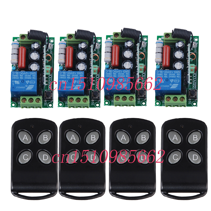 220V 1CH 10A RF wireless remote control switch 4 receiver &4 transmitter Light Lamp LED Switch Relay Momentary Toggle system new ac 220v 30a relay 1 ch rf wireless remote control switch system toggle momentary latched 315 433mhz