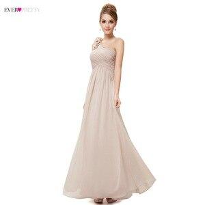 Image 2 - ארוך שושבינה שמלות אי פעם די EP08237 נשים של אחת כתף פרחוני מרופד vestidos שיפון שמלות למסיבת חתונה