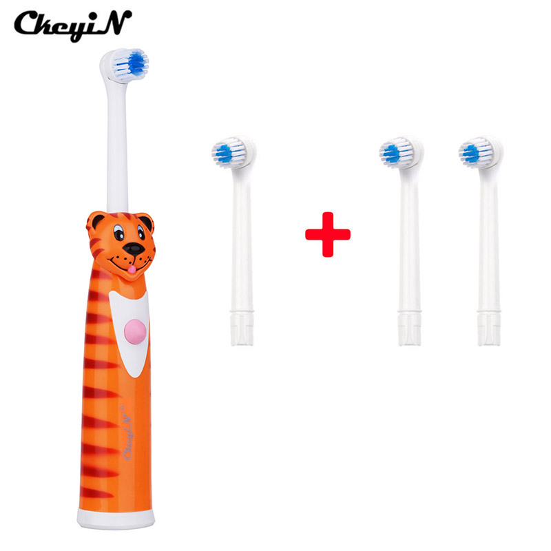 CkeyiN Dental Care Electric Toothbrush No Rechargeable With 4 Brush Heads Battery Operated Teeth Brush Oral Hygiene Tooth Brush 1 kit dental orthodontic oral care interdental brush toothpick between teeth brush 3pcs kit570041