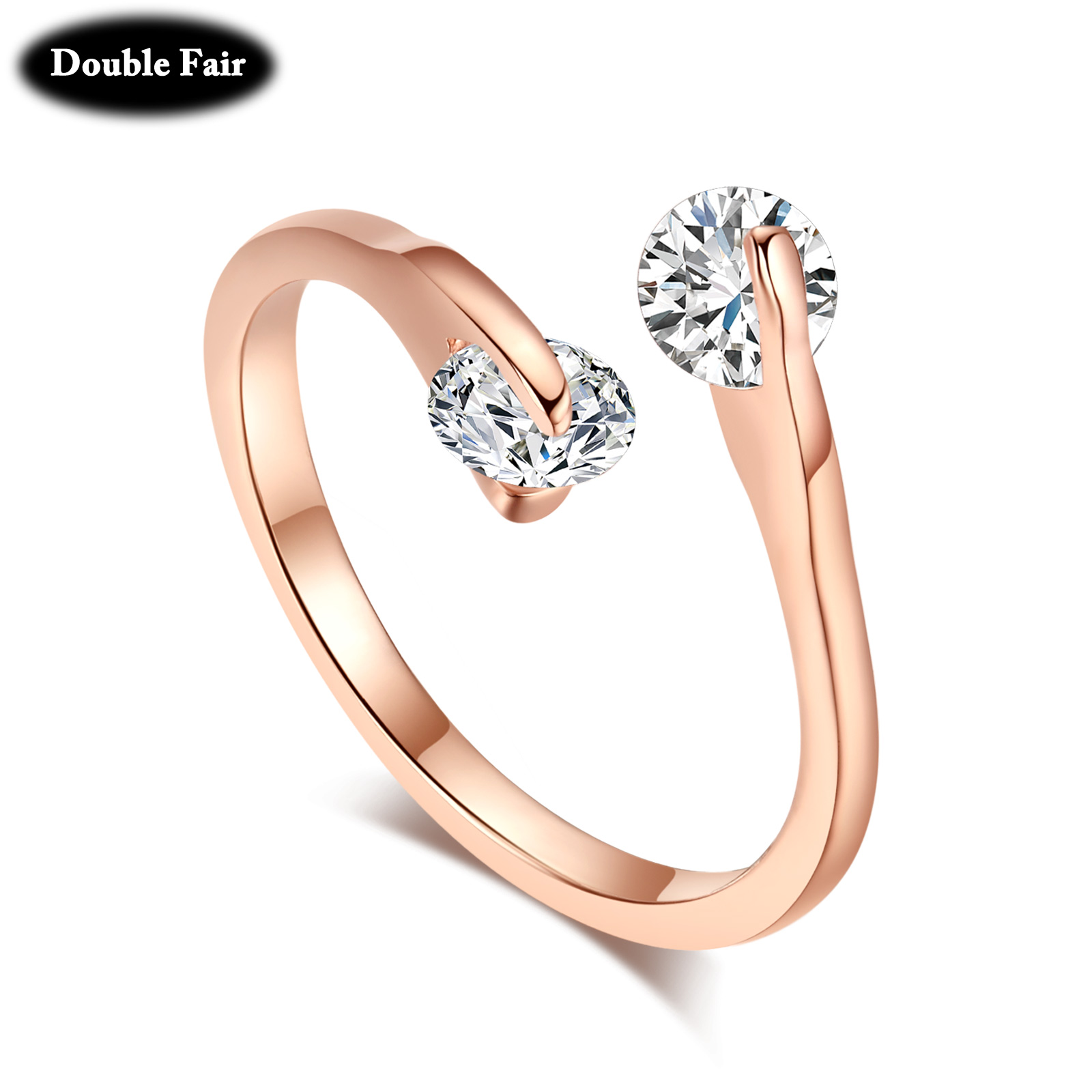 Buy Dwr007 Ol Style Adjustable Twin Cubic Zirconia Ring Rose Gold Color Silver
