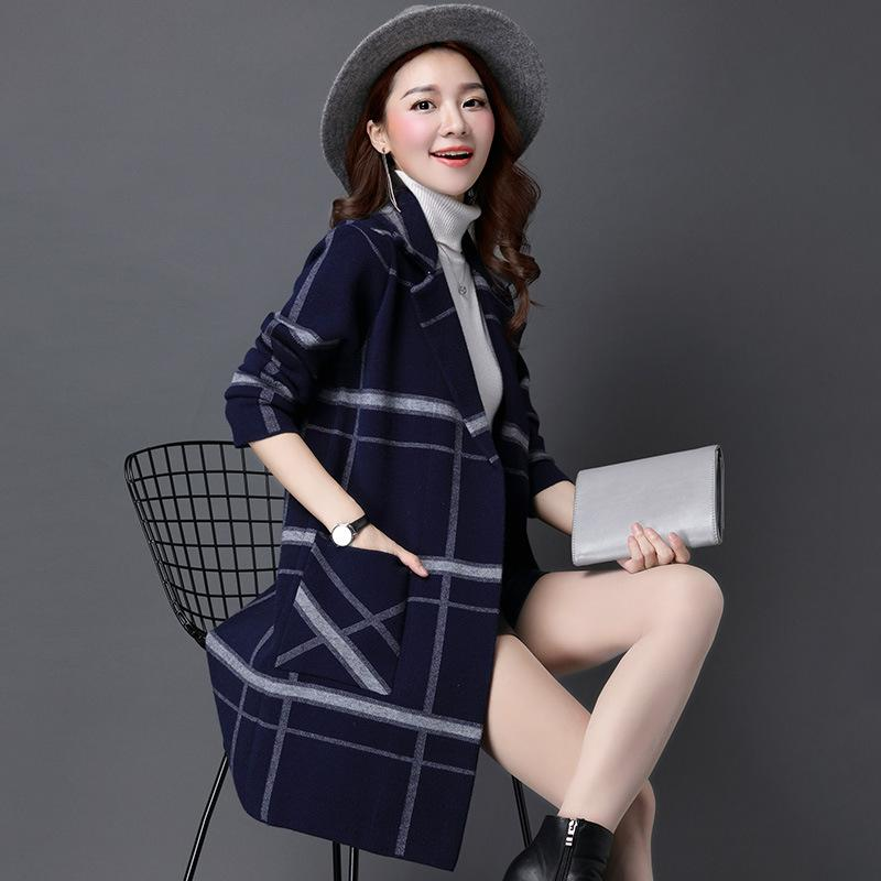 2018 New Autumn And Winter Knit Sweaters Cardigan Large Plate-Type Coat Large Size Women Loose Long Section Fat