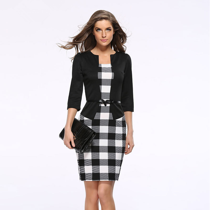 2018 Women New Fashion Autumn Spring Style Faux Two Piece Elegant Plaid Long Sleeve Pencil Dresses Office Wear Work Outfits