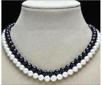 Women Gift Freshwater 2 Rows 7 8mm Natural Black White Freshwater Cultured Round Pearl Beads Necklace