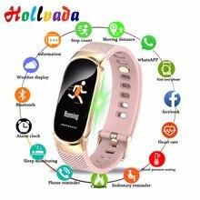 Hollvada, женские спортивные Смарт-часы, мужские, IP67, водонепроницаемые, умные часы, пульсометр, кровяное давление, шагомер, часы, часы для Android iOS