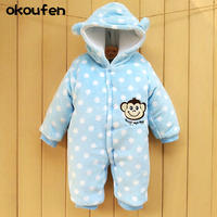 The New 2016 Baby Romper Suit More Coral Fleece Winter Model Jumpsuit Climb Clothes Cartoon Embroidered