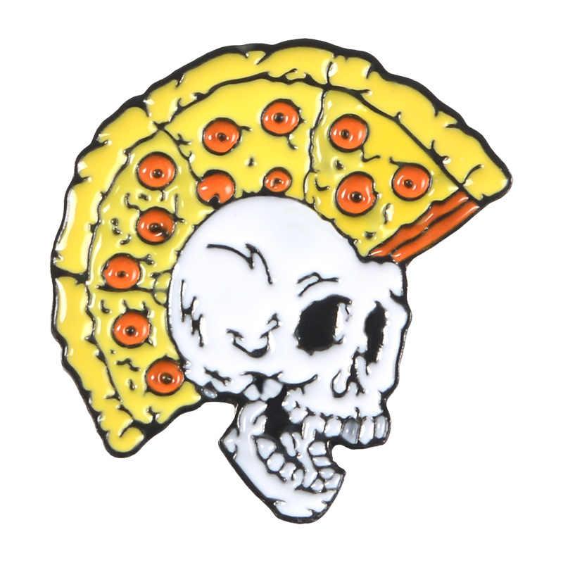 Kartun Menyenangkan Pizza Gaya Rambut Tengkorak Enamel Sumbu Kerangka Tombol Lencana Fashion Perhiasan untuk Teman-teman Ransel Aksesoris Komputer