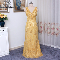 V Neck Simple Cheap Long Evening Dress Gold Lace With Pearls Beading Sheath Prom Dress Vestido