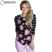 6 Color Autumn 2017 Fashion Women Patchwork Striped Long Sleeve Floral T Shirt Tops Round Neck