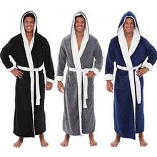Мужской зимний плюшевый халат, Размер 5XL, удлиненный теплый плюшевый халат с длинными рукавами в стиле пэчворк, комплект нижнего белья Warme Kleding E