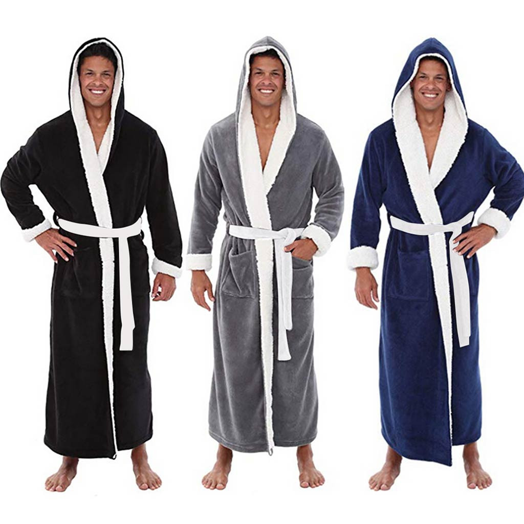 Men's Winter Plush Size 5XL Lengthened Thermal Plush Shawl Bathrobe Long Sleeved Patchwork Robe Underwear Warme Kleding Set E