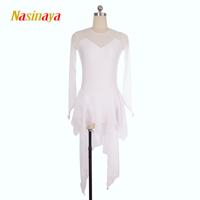 Customized Costume Ice Skating skirt Figure Skating Dress Rhythmic Gymnastics Adult Girl Show Performance Competition white long vik max adult kids dark blue leather figure skate shoes with aluminium alloy frame and stainless steel ice blade