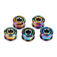 5pcs 6mm Color Plated Titanium Chainwheel Bolts Ti Chainring Bicycle Accessory For Single Chainring Chainwheel