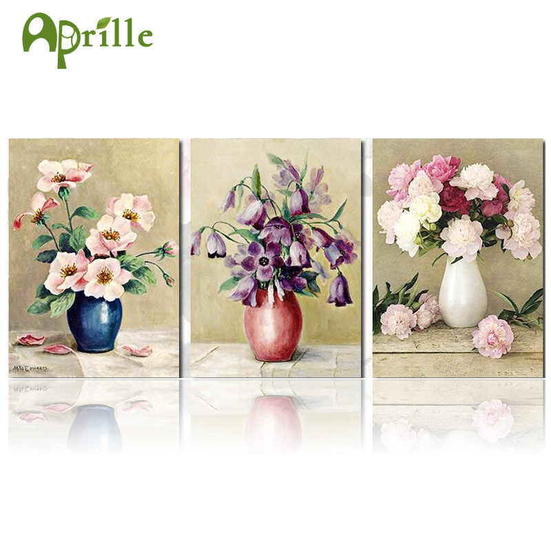 30x40 5d Diy Diamond Painting Flower Peony Lily Tulip Cross Stitch Round Mosaic Diamond Embroidery Wall Stickers Home Decor Vase