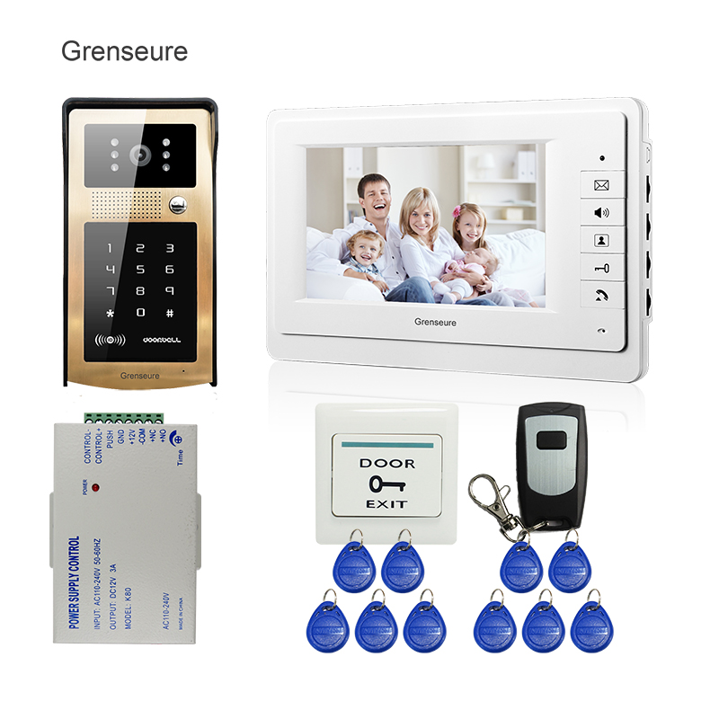 FREE SHIPPING 7 LCD Video Intercom Door Phone System White Screen + Wateproof RFID Code Keypad Access Doorbell Camera + Remote free shipping 7 lcd video door phone intercom system 2 screens rfid access code keypad password camera electric control lock