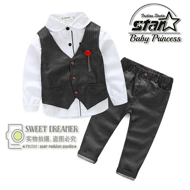 Baby Boy Gentleman Clothing Set Spring 2016 Children Infant Cotton Long Sleeved Pants Wedding Clothing Kid Handsome Three-piece