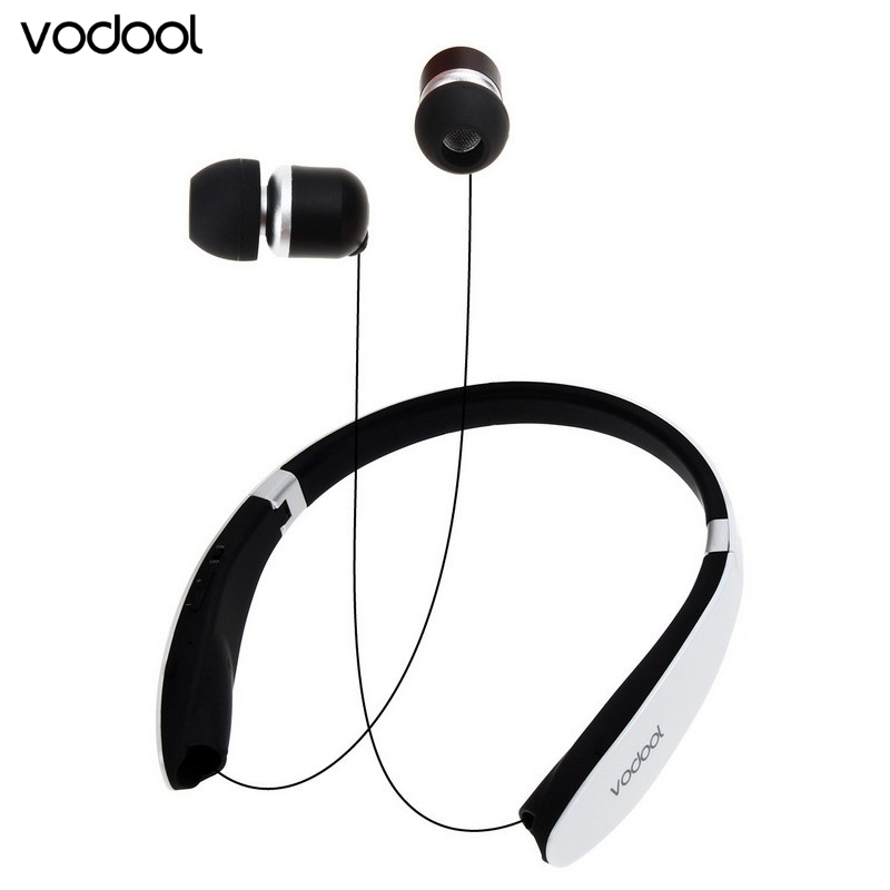 Vodool Bluetooth 4.0 Dual Track Wireless Foldable Stereo In-ear Earphones Neckband With Micro For iPhone 6S White