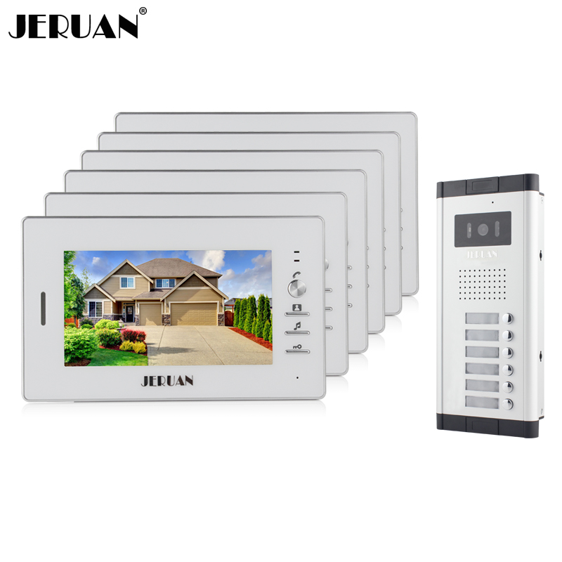 JERUAN Wholesale 7 Video Intercom Door Phone Entry System 6 Monitors + 1 Doorbell Camera for 6 house IN Stock FREE SHIPPING wired 7 video door phone intercom doorbell entry system 2 monitors villa house waterproof camera in stock free shipping
