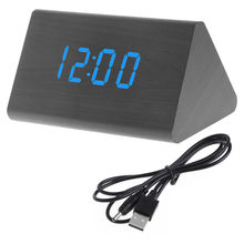 Creative Sound Voice Control Alarm Clock Triangular Thermometer Digital Clock Home Decorative Wooden LED Display Table Timer
